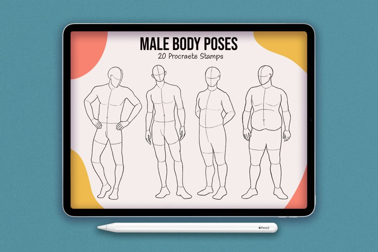20 Realistic Male Body Poses Stamps for Procreate example image 1