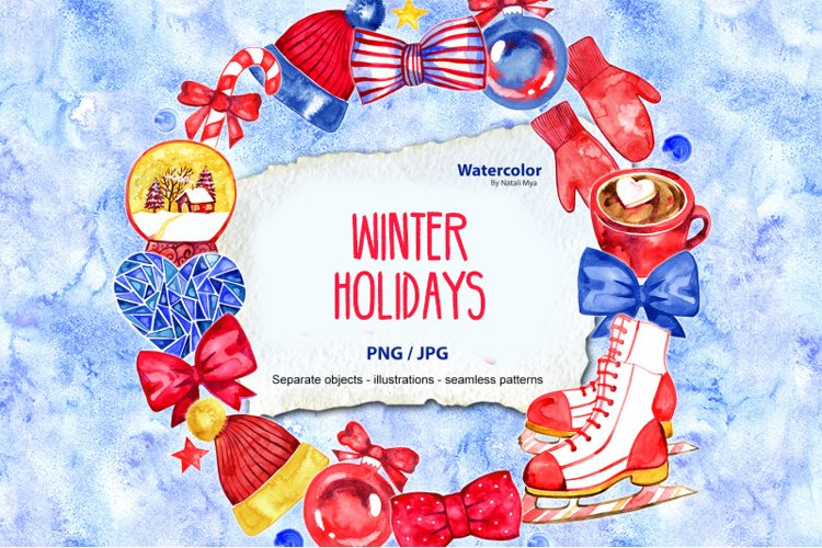 Watercolor Winter holidays set example image 1