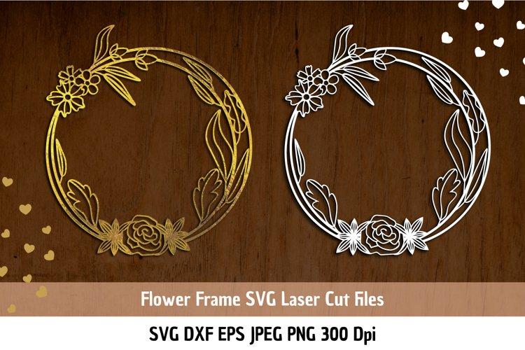 Floral Frame SVG| Flower border SVG| Flower Frame Cut Files example image 1