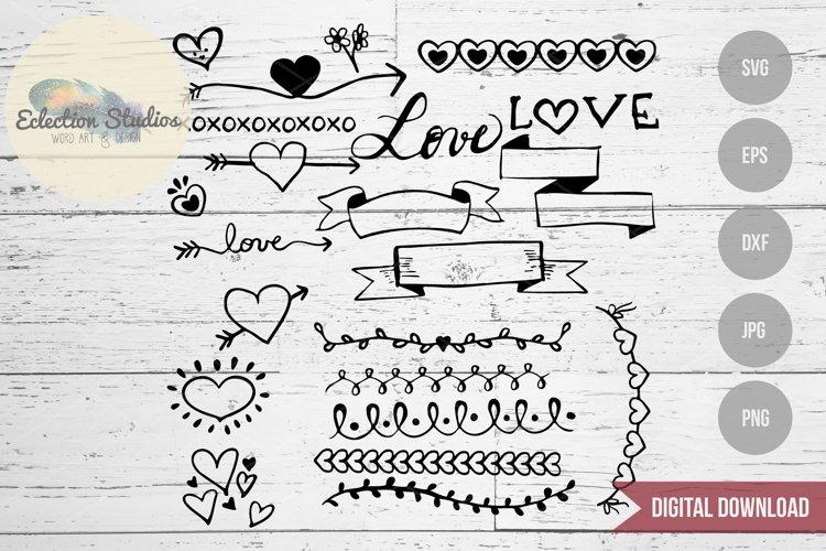 Valentine Love Doodles, Wedding Doodles SVG Bundle example