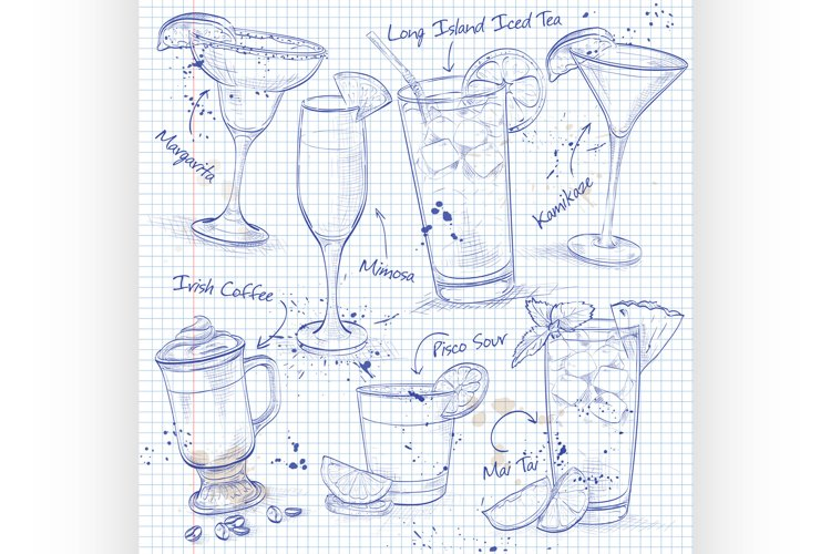 New Era Coctail Set on a notebook page example image 1
