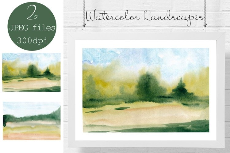 Watercolor landscape blurred backgrounds, Fields and Forest