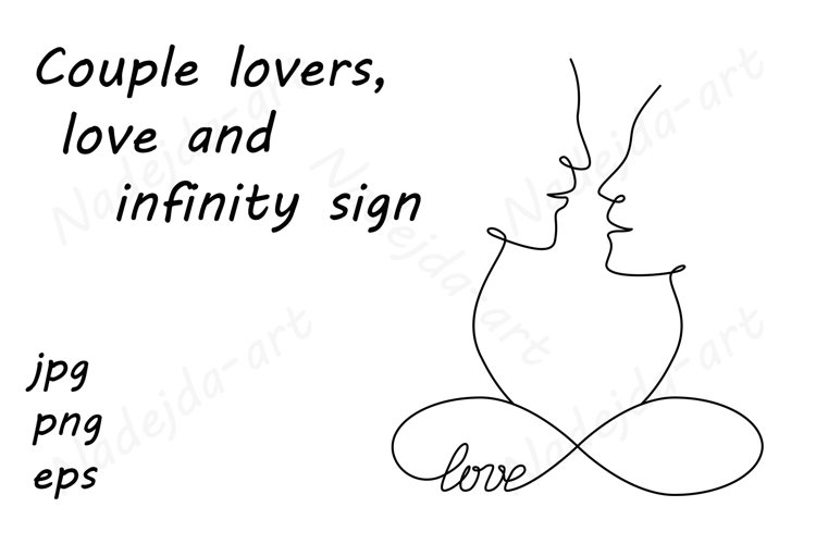Couple lovers, love and infinity sign, continuous line