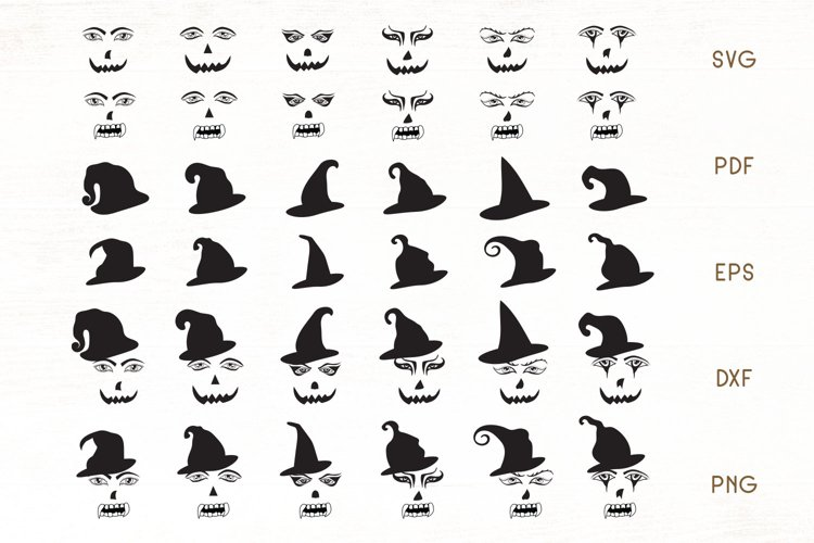 Halloween Face SVG - Halloween Faces - hats Cliparts example image 1
