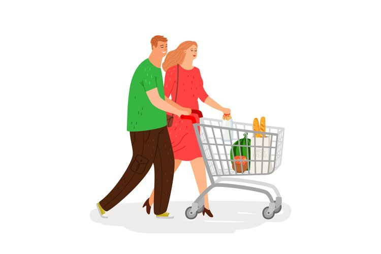 Shopping people. Couple with shopping cart vector illustrati