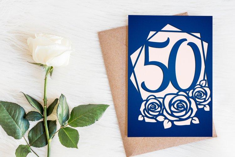 50th birthday card template, Birthday invitation svg