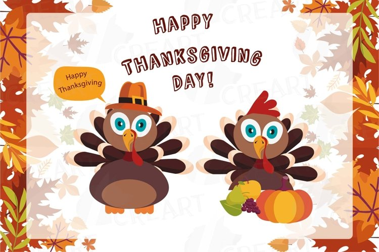 Colorful Thanksgiving Turkey clip art, Happy Thanksgiving
