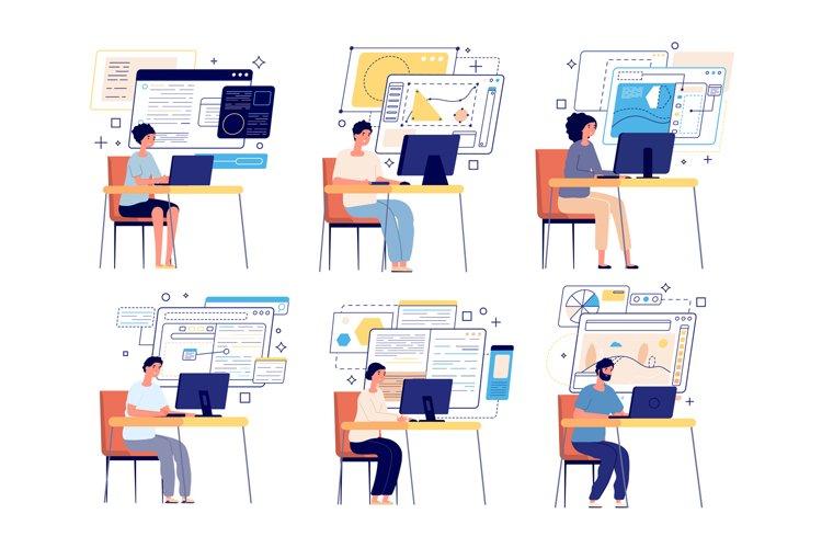 Programmers and developers. Computer game designer, web grap