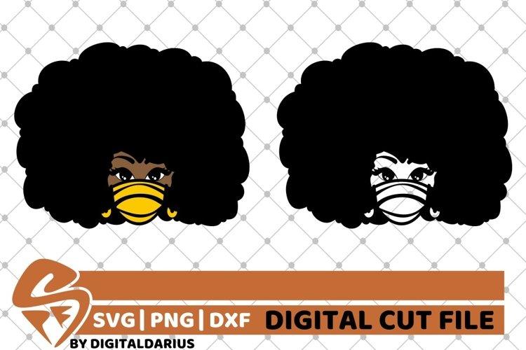 2x Black Girl in Mask Bundle svg, Fashion svg, Afro Hair svg example image 1