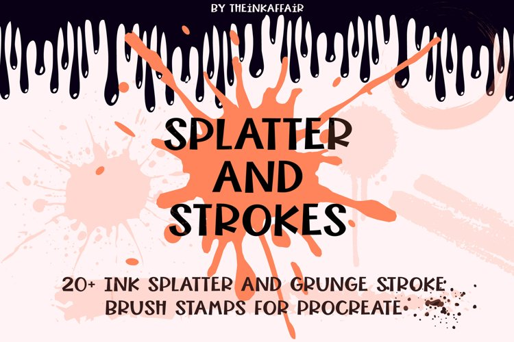 Ink splatter and grunge strokes brush stamps for procreate