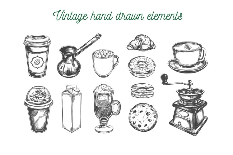 Coffee and bakery illustrations with menu templates example image 1