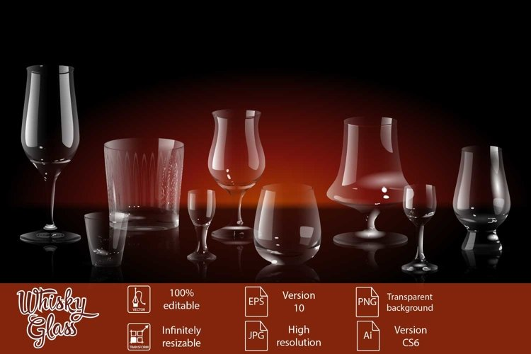 Whiskey glasses set vector realistic transparent
