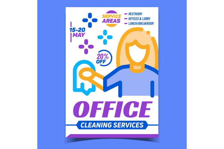 Office Cleaning Service Advertising Poster Vector example image 1