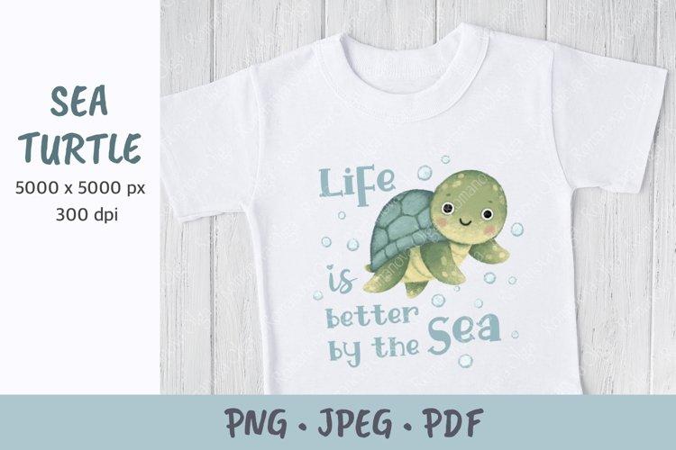 Sea turtle. Summer sublimation. Baby design.