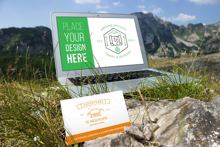 Business cards mockup 07 | Travel Mockup Collection Set 1 example image 1