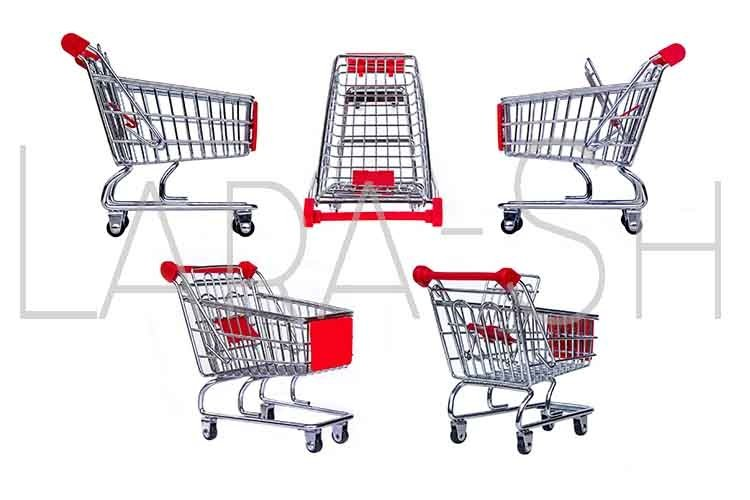 Set of metal grocery shopping baskets example image 1