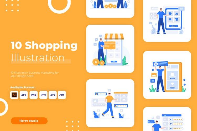 Shopping Flat Vector Illustration Set example image 1