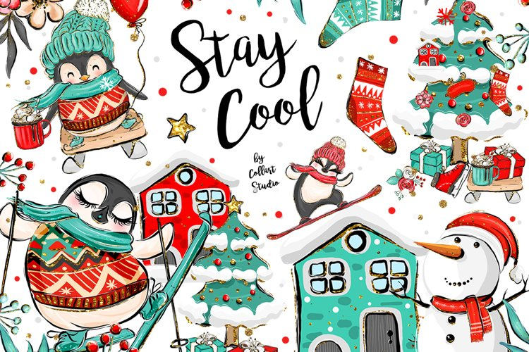 Winter Clipart, Cute Penguins, Winter Graphics, Let it Snow example image 1