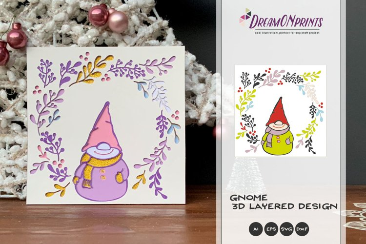 3D Gnome SVG   Christmas SVG 3D Layered Design example image 1