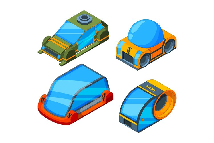 Futuristic transport. Isometric illustrations of futuristic