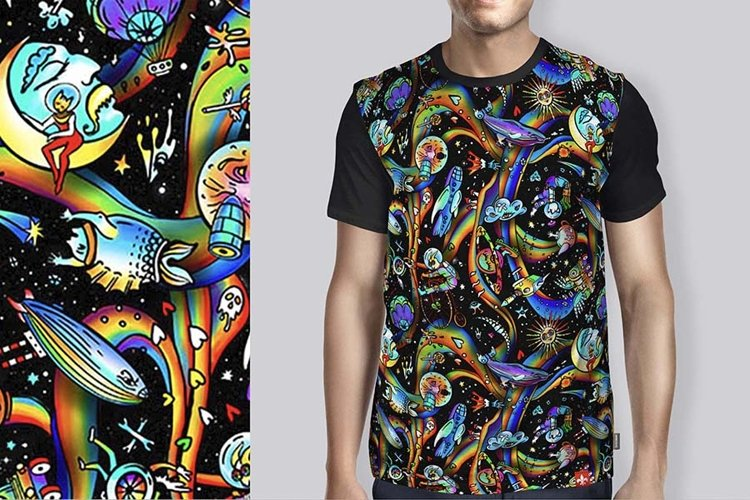 Psychedelic seamless pattern 2 Black