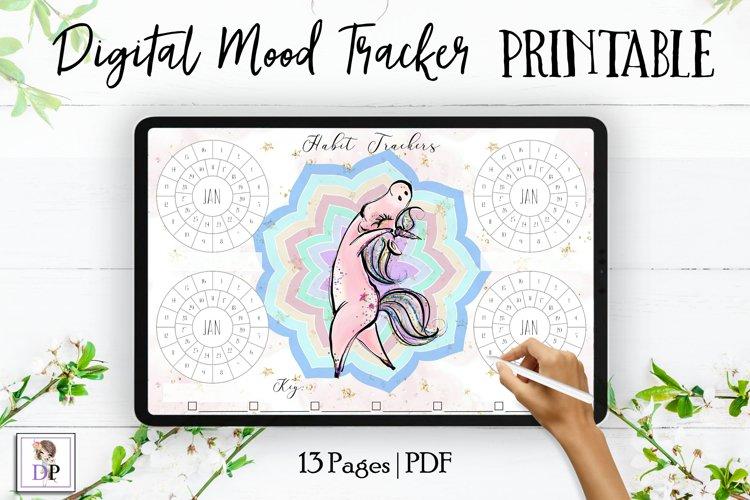 Digital Habit Trackers Y4 Yoga Series for Planner PRINTABLE example image 1
