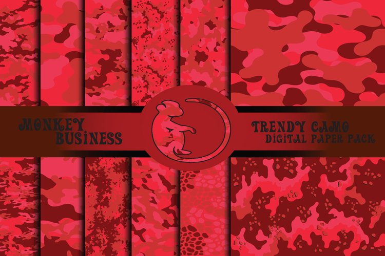Red camo digital paper pack, Seamless military designs example image 1