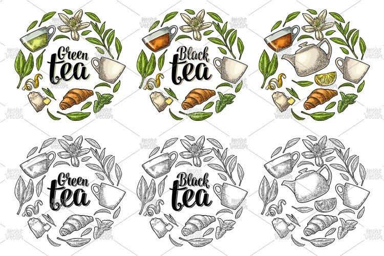 Download Set Engraving Illustration With Lettering Black Green Tea 362179 Illustrations Design Bundles