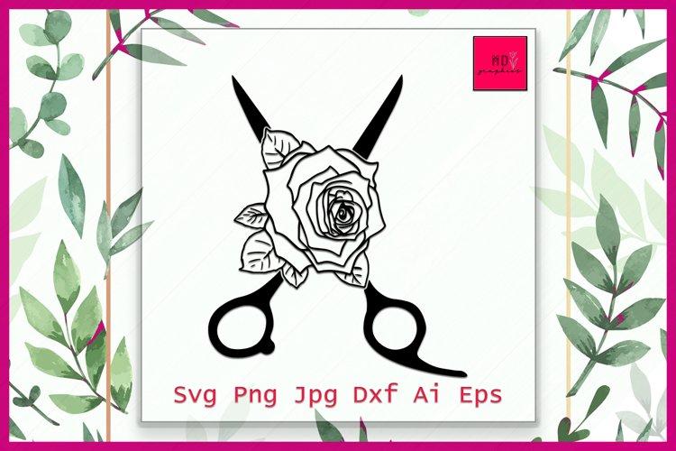 Hairdresser's Scissors Circle Split Frame Cutting Files SVG example image 1