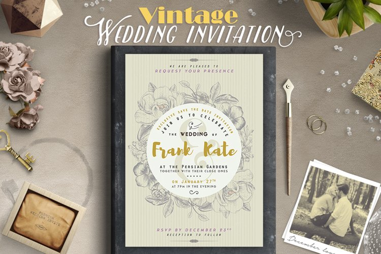 Vintage Wedding Invitation I example image 1