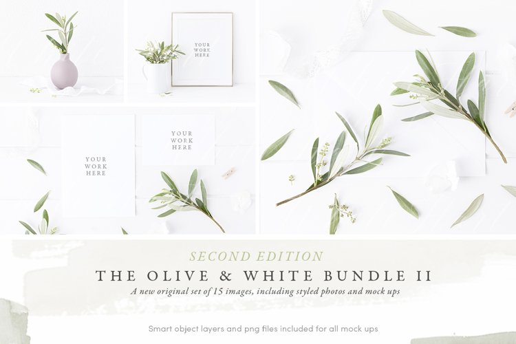 The Olive & White Wedding mockup BUNDLE example image 1