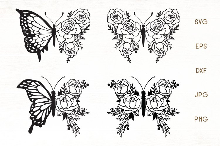 Floral Butterfly Zentangle - Butterfly SVG, Flower Butterfly example image 1
