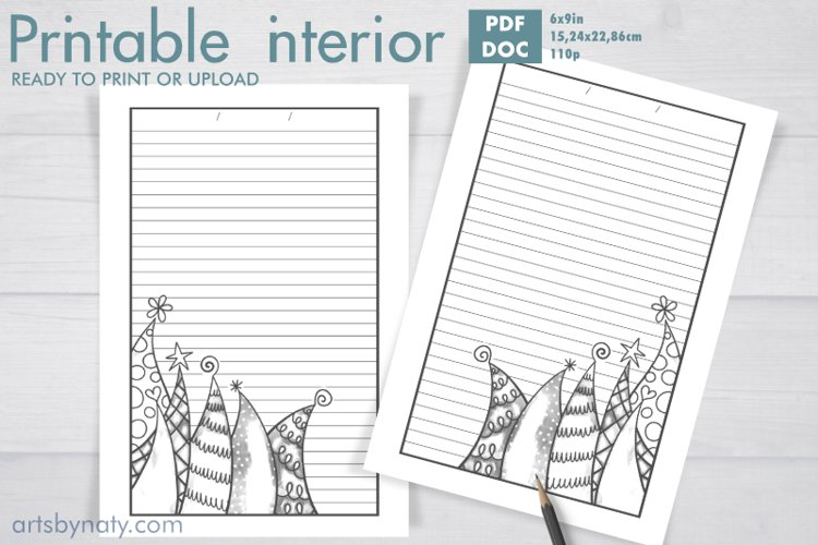 Christmas trees to color - KDP notebook. example image 1