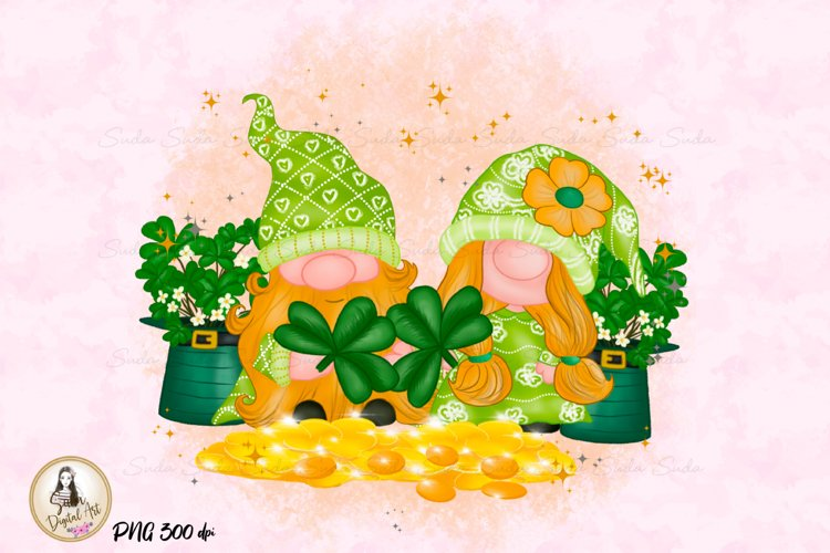 St Patricks Day Gnomes Gold Coin