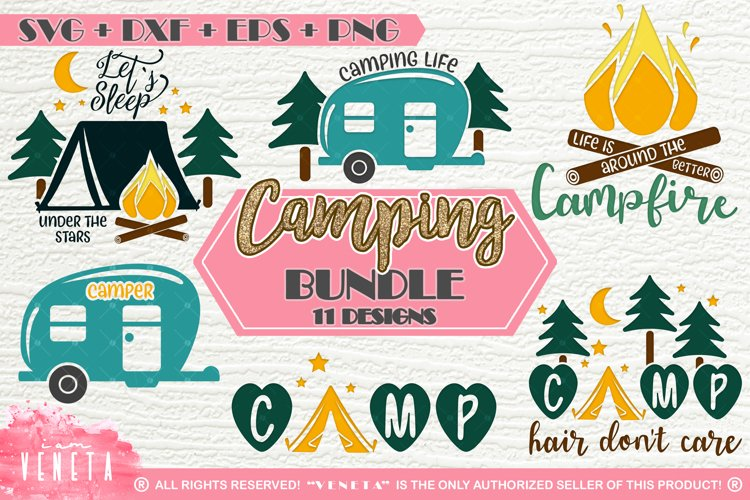 Camping | BUNDLE - 11 Designs | SVG, DXF, EPS, PNG Cut Files
