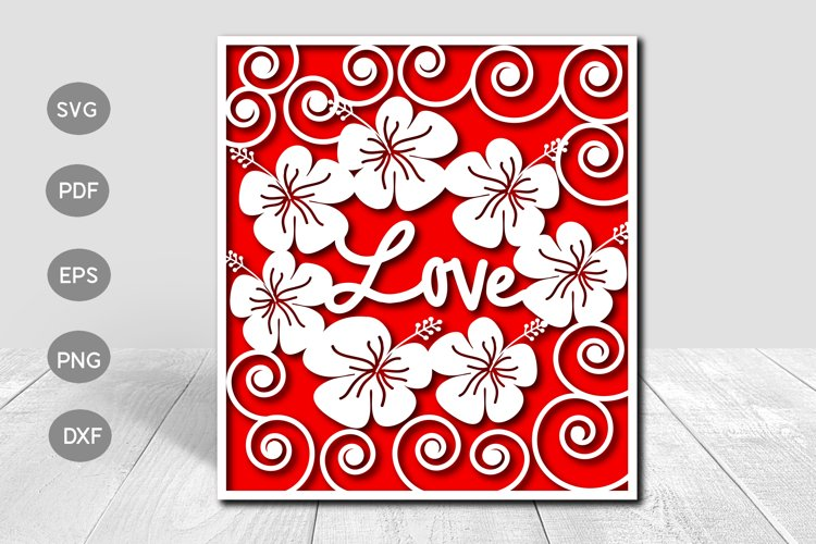 Love Valentine Papercut Card Cover Template SVG Design example image 1