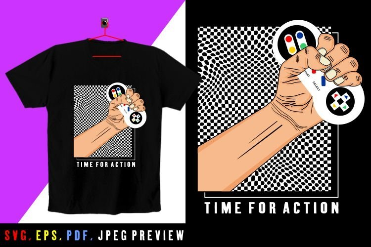 time for action T-SHIRT SVG-PDF-EPS-JPEG A60 example image 1