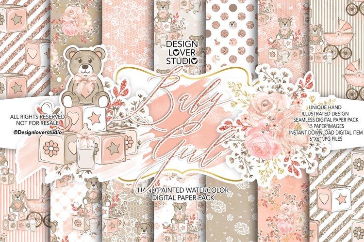 Baby Girl digital paper pack 2 example image 1