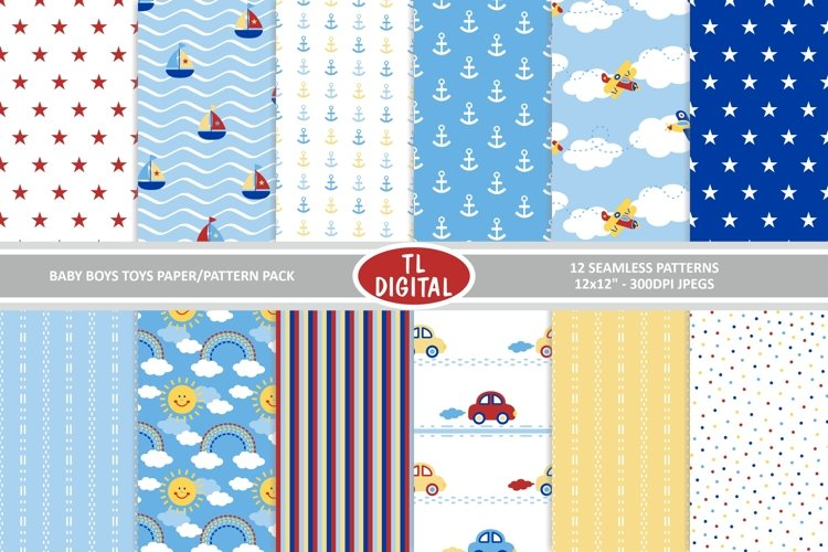 "Baby Boy Toys Digital Paper / Patterns - 12 Designs 12x12"" example image 1"