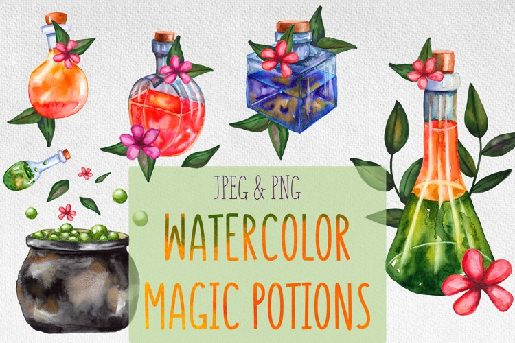 Watercolor magic potions collection