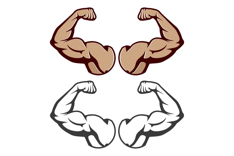 Cartoon hard muscle. Strong arm Isolated example image 1