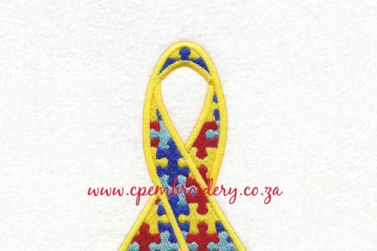 Support Ribbon Puzzled Detail Machine Embroidery Design