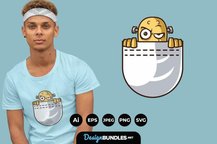 Monster Peeking for T-Shirt Design example image 1