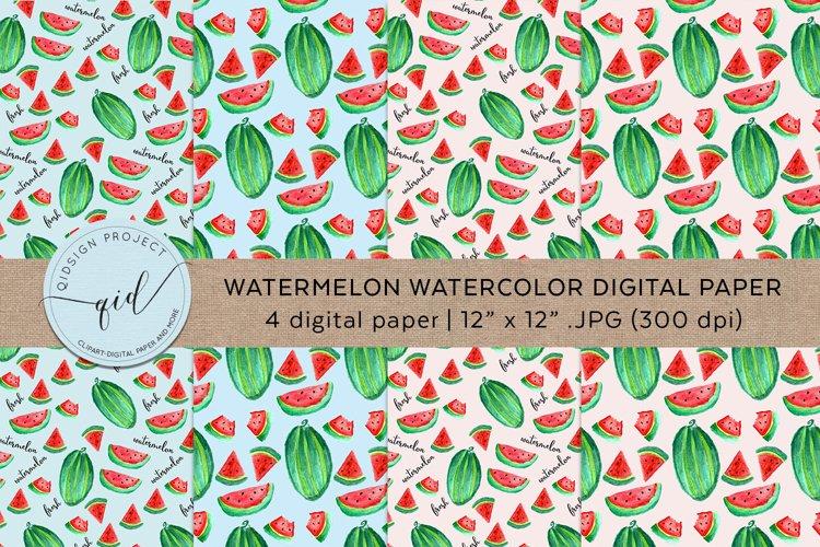 Watermelon Watercolor Digital Paper 4 JPG 300dpi example image 1
