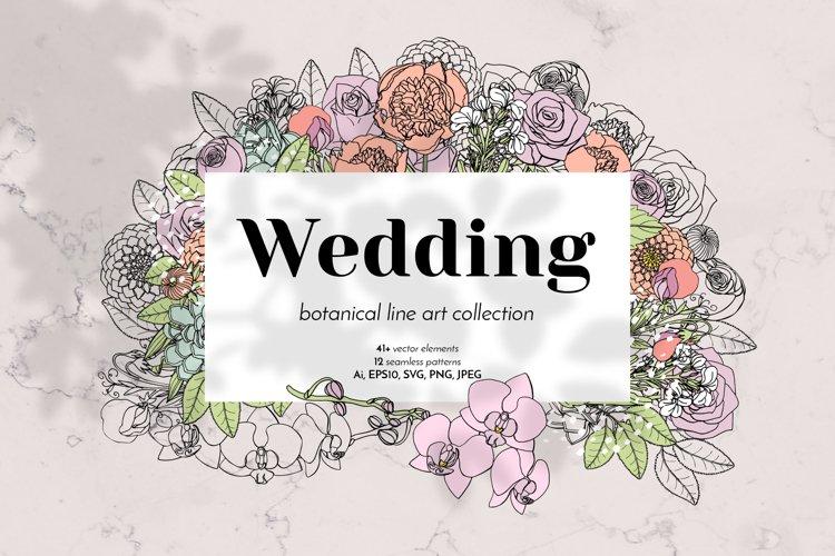 Wedding Vintage Floral Line Art