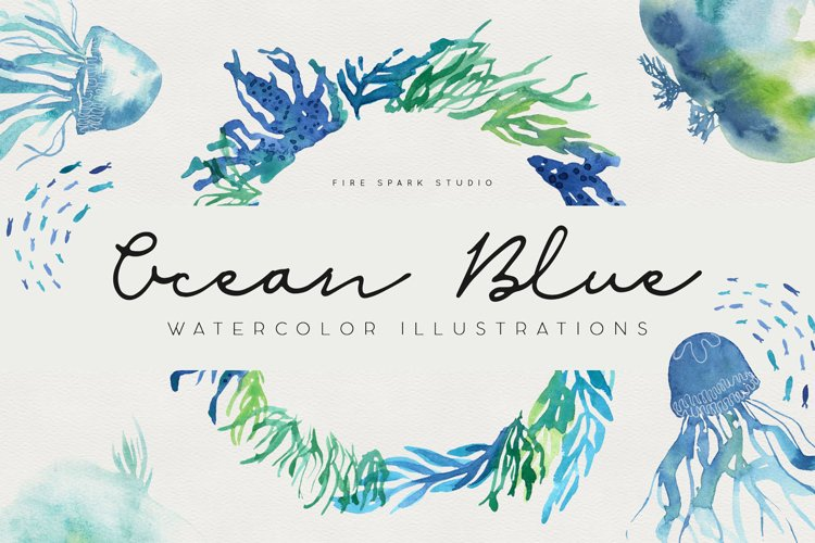 Ocean Life Watercolor Illustrations example image 1