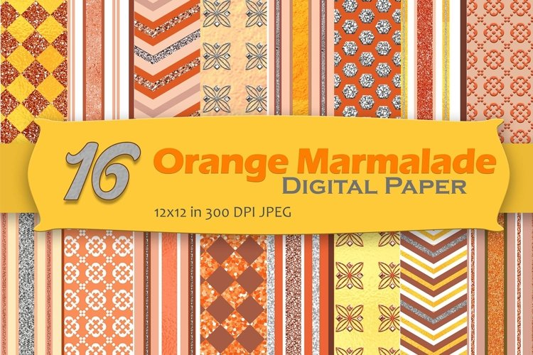 Orange Marmalade Digital Paper Pack example image 1