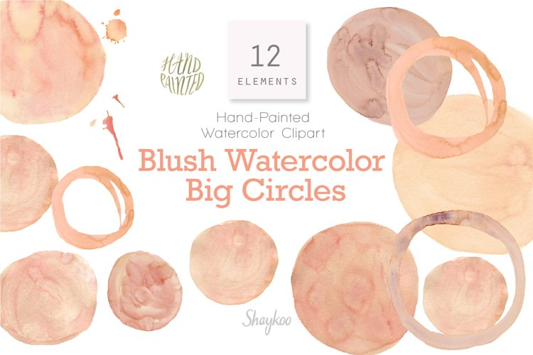 Blush Watercolor Circles Clipart, Blush Spots, Blush Dots