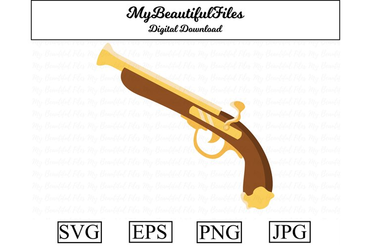 Pirate Pistol SVG - Cute Pirate SVG, EPS, PNG and JPG