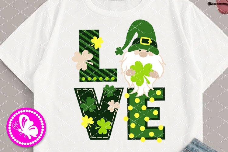 Love sign St Patrick's day Gnome decor Shamrock Cricut Svg example image 1